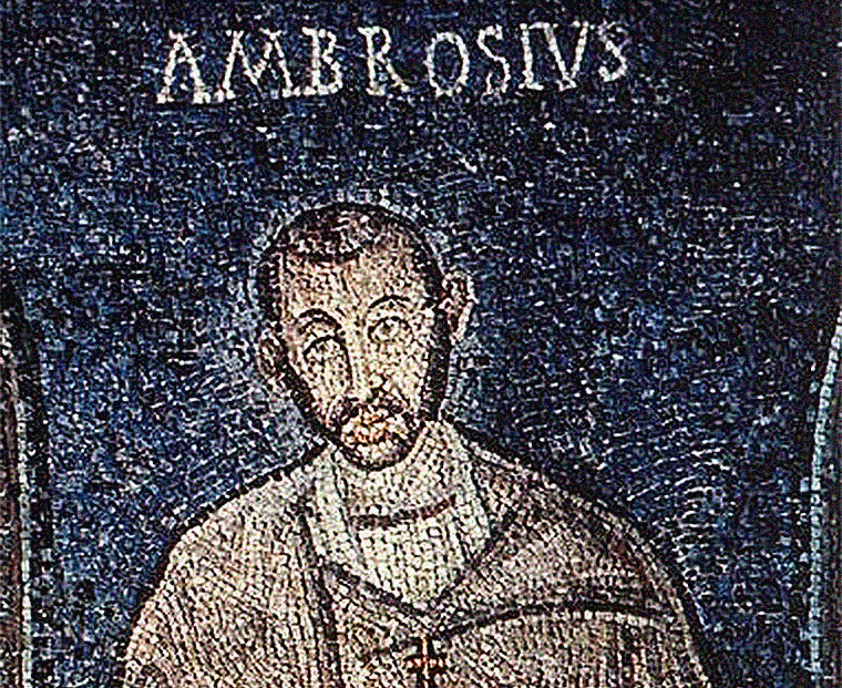 Early mosaic of Saint Ambrose (378 ca.) that might be an actual portrait