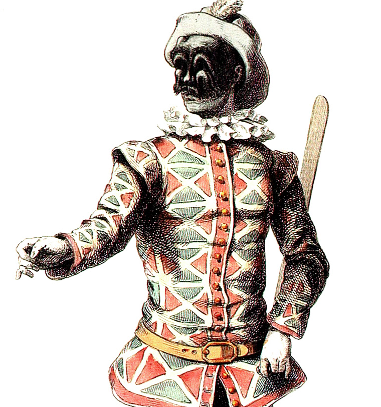The classical appearance of the Harlequin stock character in the commedia dell'arte of the 1670s