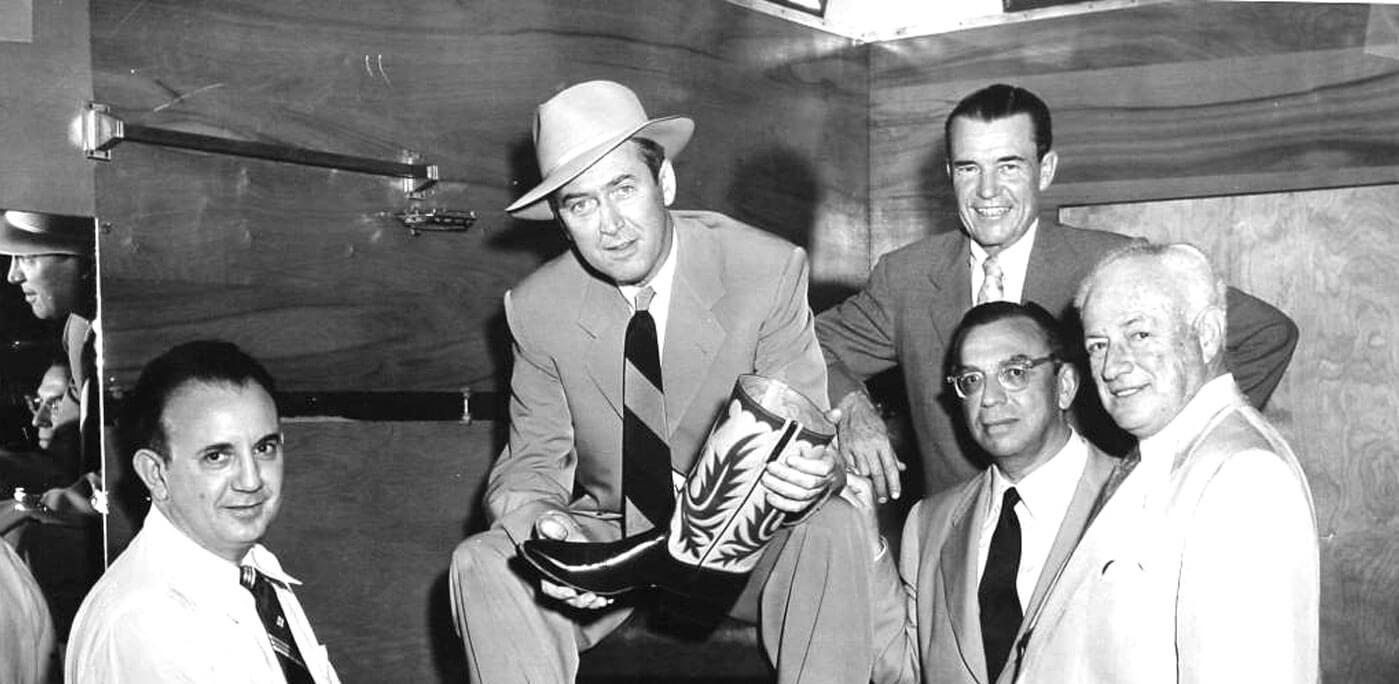 From the left: Cosimo Lucchese, James Stewart, Willie William, Goetz, RJ ODonnel. Photo courtesy Lucchese Boots
