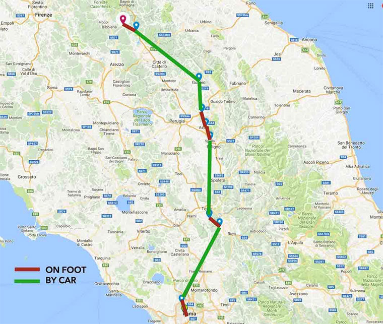 The Saint Francis pilgrimage route to Rome