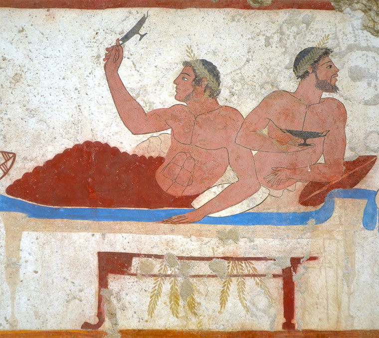 """Detail ancient Greek Fresco in Paestum, Italy, called the """"Tomb of the Diver"""" depicting men during a banquet.— Photo by peuceta"""