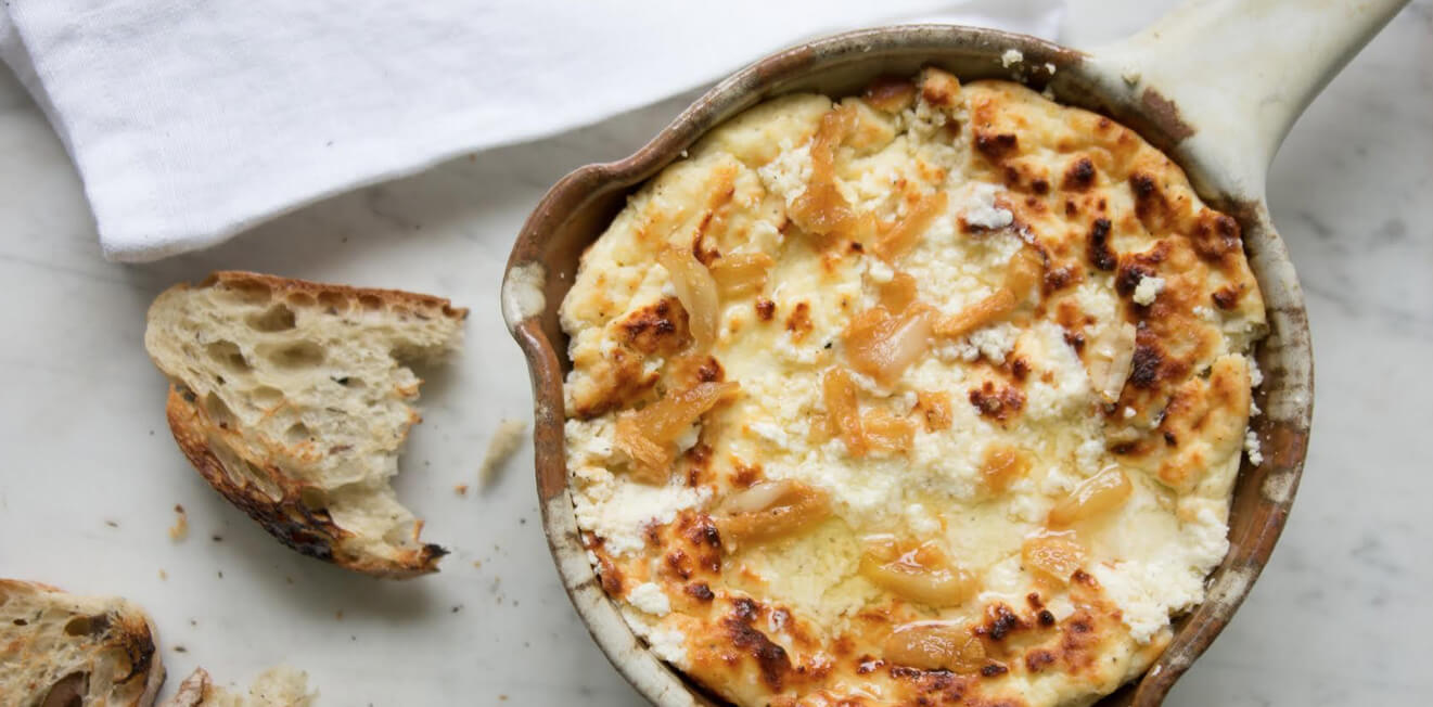 Baked ricotta dip with oil infused garlic
