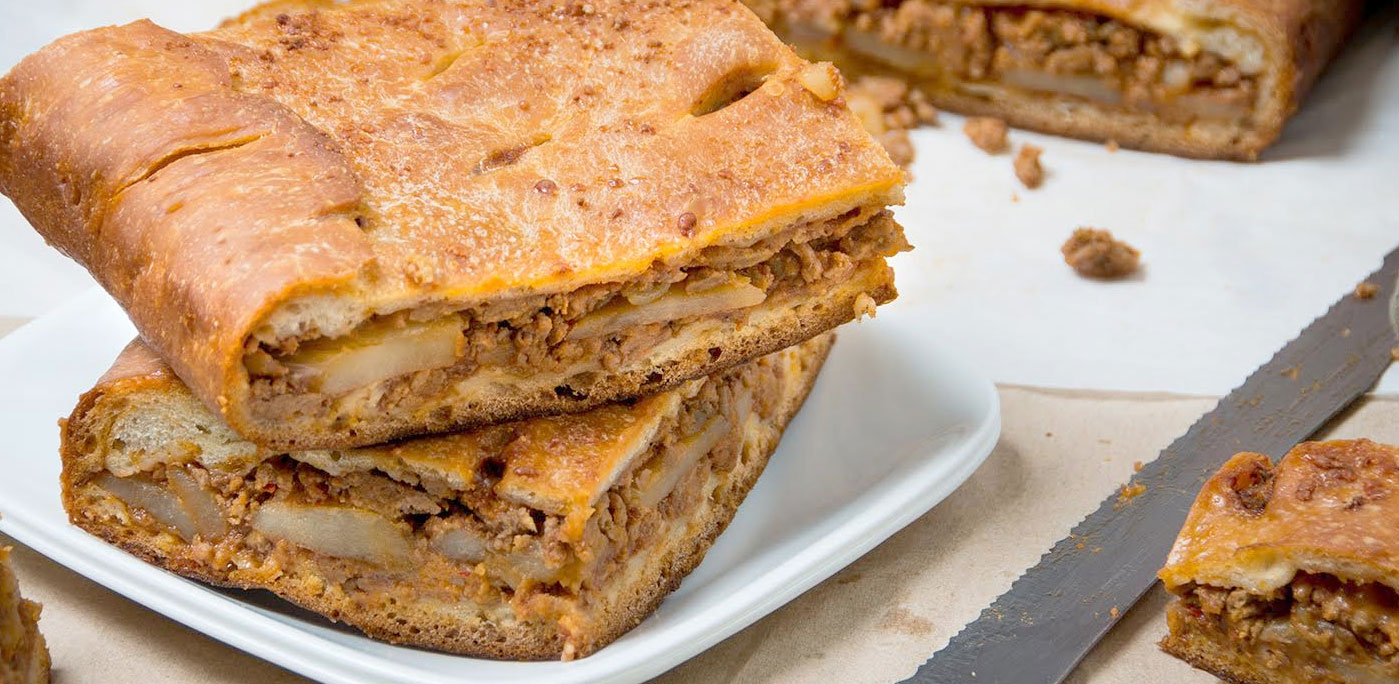 Schiacciata with meat and vegetables. Photo: Nonna's Way