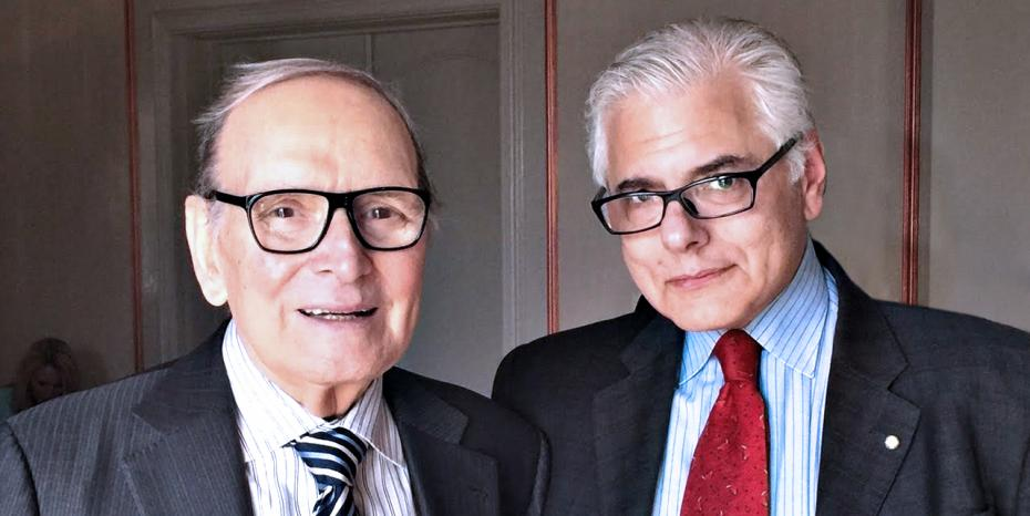 Academy Award winner Composer Ennio Morricone and Consul General of Italy, Antonio Verde. Photo Courtesy of A. Verde